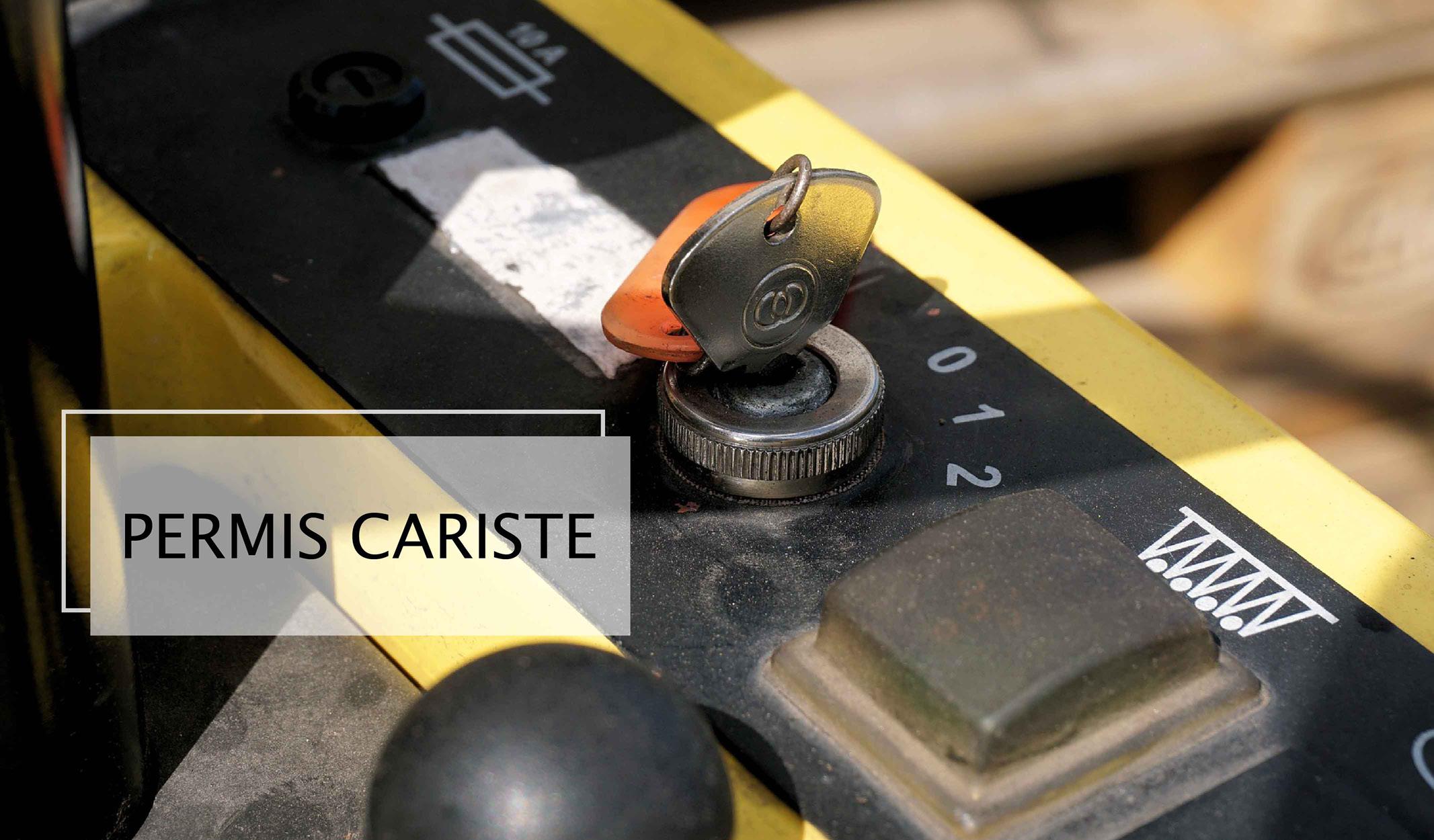 Chariot de manutention utilisé lors de l'examen du permis cariste